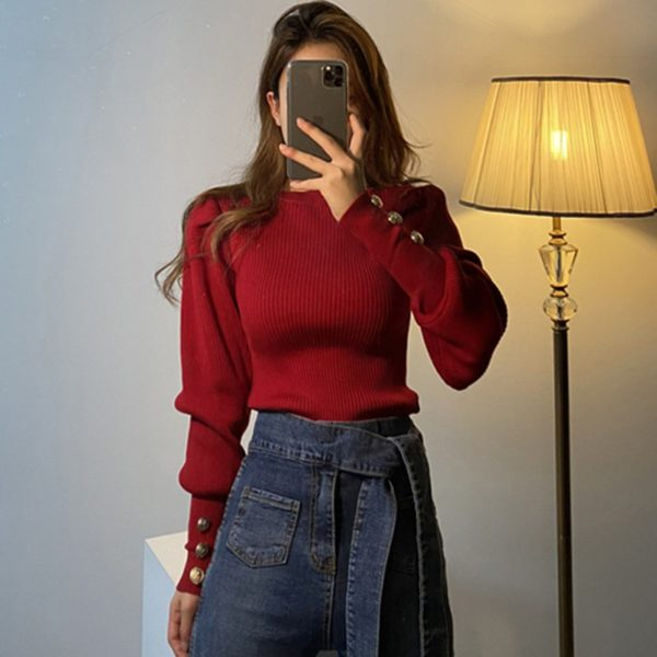 BGTEEVER-Fashion-O-neck-Elastic-Slim-Female-Pullover-Sweater-Lantern-Sleeve-Buttons-Women-Jumpers-Knit-Tops-1.jpg
