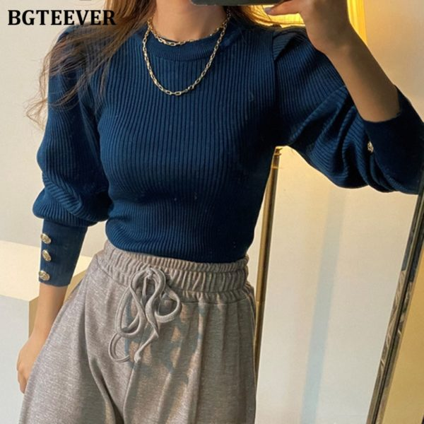 BGTEEVER-Fashion-O-neck-Elastic-Slim-Female-Pullover-Sweater-Lantern-Sleeve-Buttons-Women-Jumpers-Knit-Tops-2.jpg