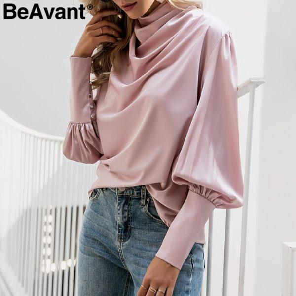 BeAvant-Vintage-turtle-neck-satin-blouse-women-Pink-long-sleeve-pleated-luxury-blouses-shirt-Elegant-button-1.jpg