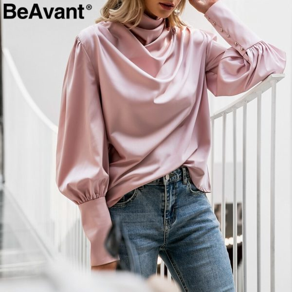 BeAvant-Vintage-turtle-neck-satin-blouse-women-Pink-long-sleeve-pleated-luxury-blouses-shirt-Elegant-button-2.jpg
