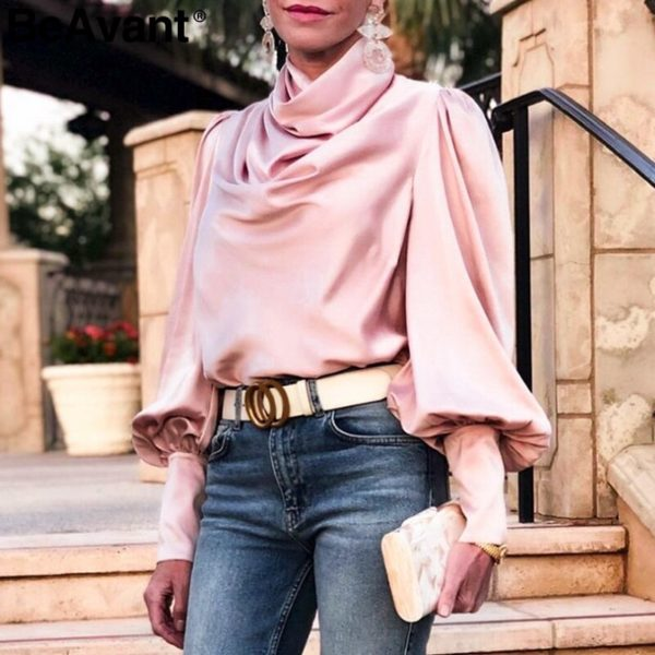 BeAvant-Vintage-turtle-neck-satin-blouse-women-Pink-long-sleeve-pleated-luxury-blouses-shirt-Elegant-button-3.jpg