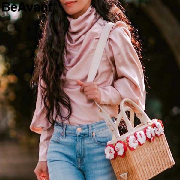 BeAvant-Vintage-turtle-neck-satin-blouse-women-Pink-long-sleeve-pleated-luxury-blouses-shirt-Elegant-button-4.jpg