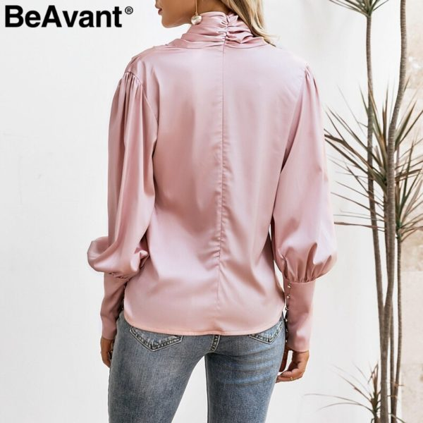 BeAvant-Vintage-turtle-neck-satin-blouse-women-Pink-long-sleeve-pleated-luxury-blouses-shirt-Elegant-button-5.jpg
