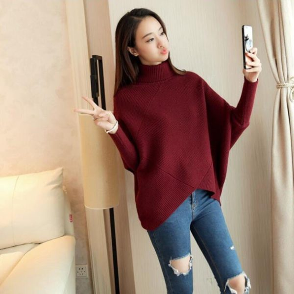 CHICEVER-Hit-Colors-Pullovers-Sweater-For-Women-Turtleneck-Batwing-Sleeve-Loose-Knitted-Sweaters-Korean-Fashion-Clothing-3.jpg