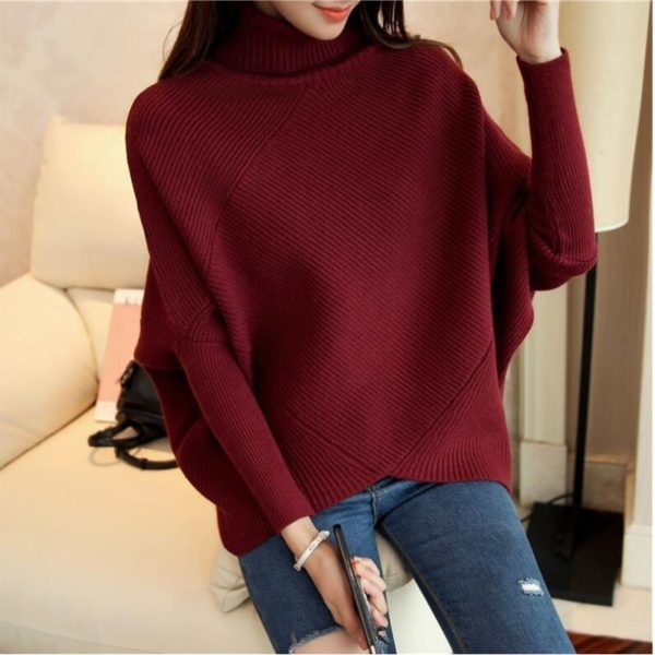 CHICEVER-Hit-Colors-Pullovers-Sweater-For-Women-Turtleneck-Batwing-Sleeve-Loose-Knitted-Sweaters-Korean-Fashion-Clothing-4.jpg