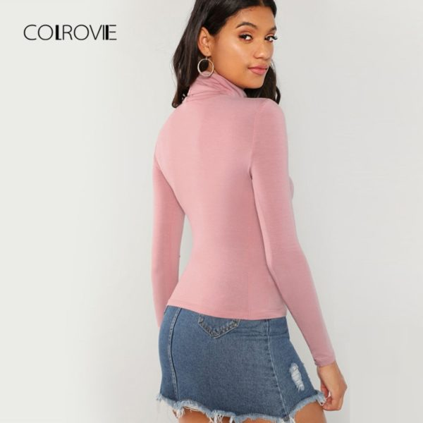 COLROVIE-Pink-Workwear-Turtleneck-Slim-Fit-Long-Sleeve-Shirt-Women-T-Shirt-Autumn-High-Neck-Elegant-1.jpg