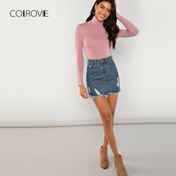COLROVIE-Pink-Workwear-Turtleneck-Slim-Fit-Long-Sleeve-Shirt-Women-T-Shirt-Autumn-High-Neck-Elegant-4.jpg