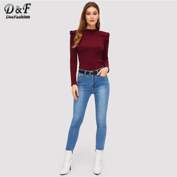 Dotfashion-Burgundy-Frill-Trim-Solid-Long-Sleeve-Tee-Shirt-Women-Casual-Autumn-Stand-Collar-Tops-Slim-3.jpg