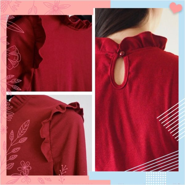 Dotfashion-Burgundy-Frill-Trim-Solid-Long-Sleeve-Tee-Shirt-Women-Casual-Autumn-Stand-Collar-Tops-Slim-5.jpg