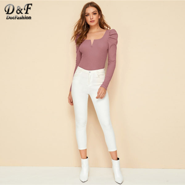 Dotfashion-Pink-Casual-Leg-of-mutton-Sleeve-T-shirt-Women-2020-Spring-Square-Neck-Rib-Knit-1.jpg