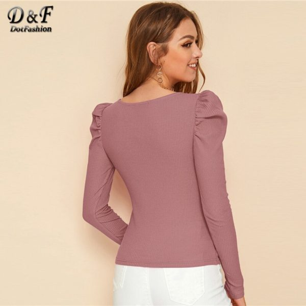 Dotfashion-Pink-Casual-Leg-of-mutton-Sleeve-T-shirt-Women-2020-Spring-Square-Neck-Rib-Knit-3.jpg