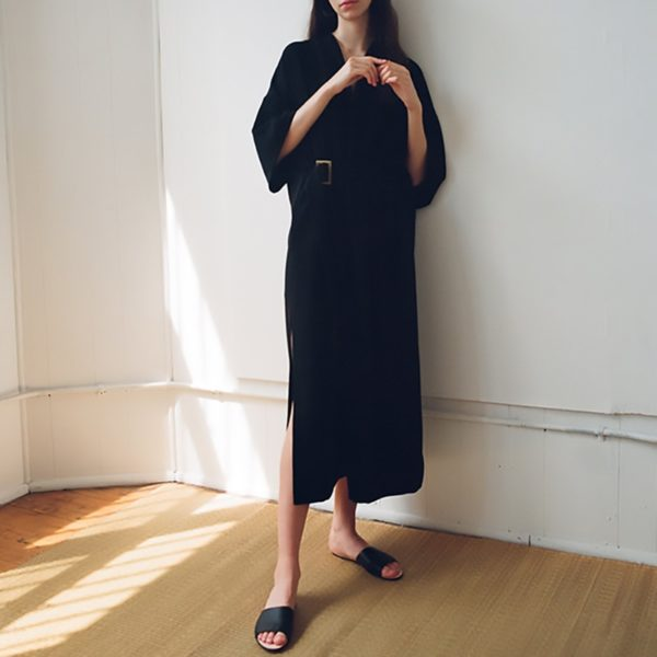 EAM-2020-New-Spring-Summer-V-Neck-Half-Sleeve-Black-Loose-Waist-Bandage-Pocket-Long-1.jpg