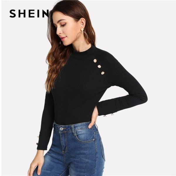 SHEIN-Black-Modern-Lady-Weekend-Casual-Ribbed-Knit-Button-Mock-Neck-Stand-Collar-Slim-Fit-Tee-3.jpg