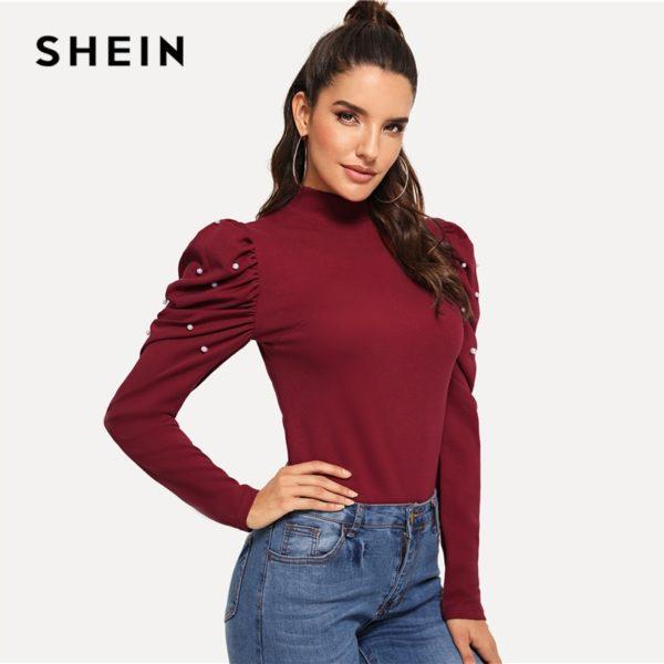 SHEIN-Burgundy-Office-Lady-Ruffle-Pearls-Beaded-Mock-Neck-Puff-Sleeve-Blouse-Autumn-Elegant-Workwear-Women-3.jpg
