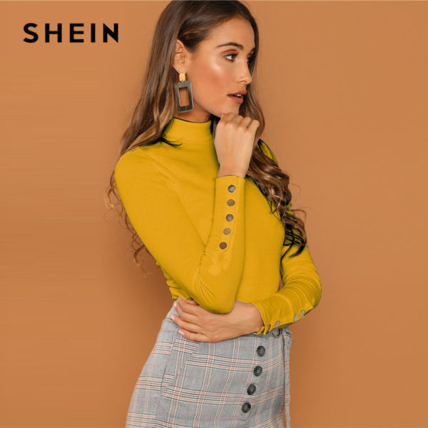 SHEIN-Ginger-Buttoned-Cuff-Slim-Fit-High-Neck-T-shirt-Casual-Skinny-Long-Sleeve-Solid-Tee-1.jpg