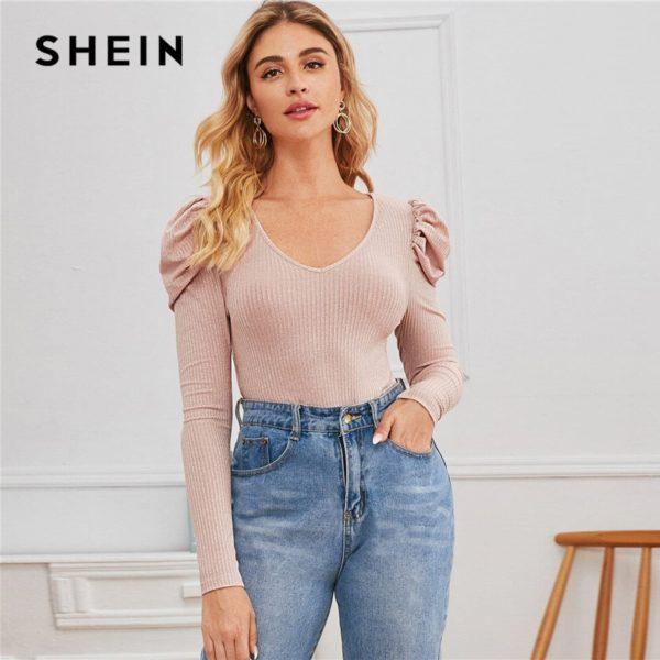 SHEIN-Silver-V-neck-Gigot-Sleeve-Glitter-Tee-Women-Spring-Tshirt-Puff-Shoulder-Rib-Knitted-Glamorous-3.jpg