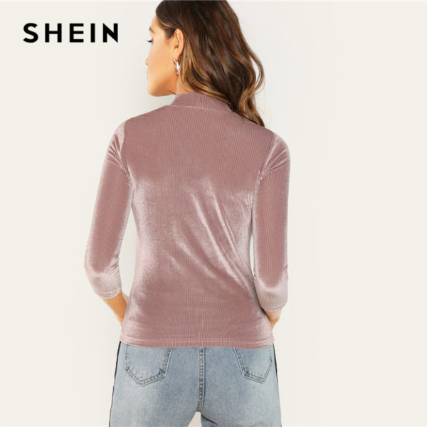 SHEIN-Three-Quarter-Length-Sleeve-Pink-Mock-Neck-Fitted-Ribbed-Velvet-Top-Autumn-Office-Lady-Workwear-1.jpg