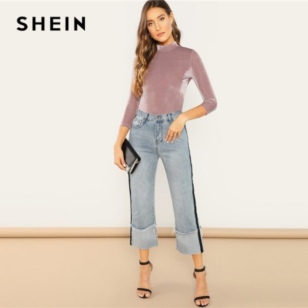 SHEIN-Three-Quarter-Length-Sleeve-Pink-Mock-Neck-Fitted-Ribbed-Velvet-Top-Autumn-Office-Lady-Workwear-3.jpg