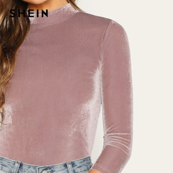 SHEIN-Three-Quarter-Length-Sleeve-Pink-Mock-Neck-Fitted-Ribbed-Velvet-Top-Autumn-Office-Lady-Workwear-4.jpg