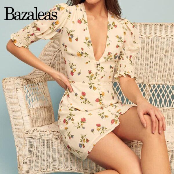 Bazaleas-Vintage-Flowers-Print-vestidos-France-V-Neck-Dress-Fashion-Center-Buttons-Dresses-Elegant-Half-Sleeve-2.jpg
