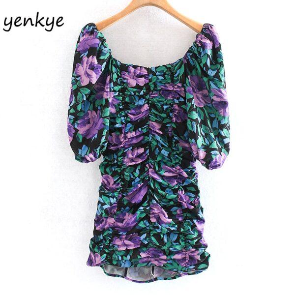 Fashion-Women-Elastic-Draped-Bodycon-Mini-Dress-Sexy-Lady-Square-Neck-Puff-Sleeve-Floral-Print-Summer-1.jpg
