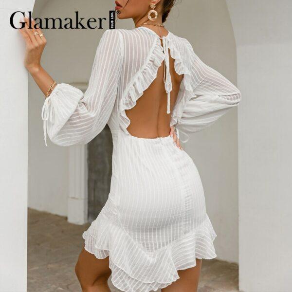 Glamaker-Sexy-backless-white-mini-dress-Summer-transparent-ruffle-A-line-dress-Holiday-beach-lace-up-5.jpg