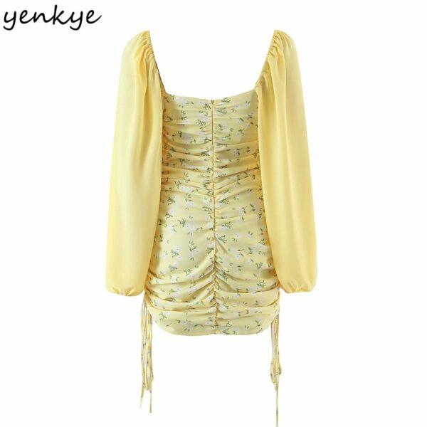 YENKYE-Romantic-Women-Sexy-Draped-Bodycon-Mini-Dress-Female-Yellow-Long-Sleeve-Square-Neck-Chiffon-Summer-1.jpg