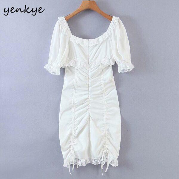 YENKYE-Romantic-Lace-Trim-White-Party-Dress-Women-Sexy-Square-Neck-Short-Sleeve-Drawstring-Draped-Bodycon-1.jpg