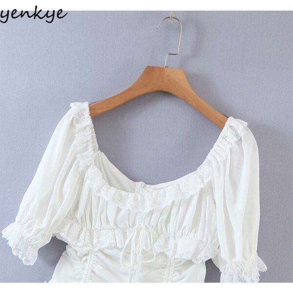 YENKYE-Romantic-Lace-Trim-White-Party-Dress-Women-Sexy-Square-Neck-Short-Sleeve-Drawstring-Draped-Bodycon-2.jpg