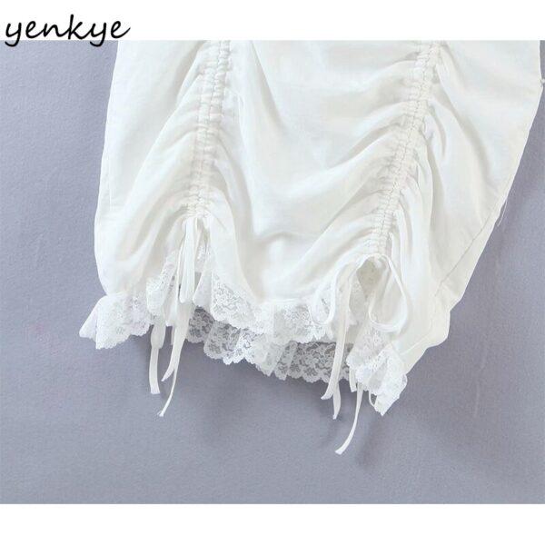 YENKYE-Romantic-Lace-Trim-White-Party-Dress-Women-Sexy-Square-Neck-Short-Sleeve-Drawstring-Draped-Bodycon-3.jpg