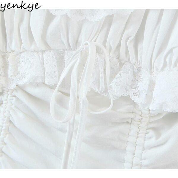 YENKYE-Romantic-Lace-Trim-White-Party-Dress-Women-Sexy-Square-Neck-Short-Sleeve-Drawstring-Draped-Bodycon-4.jpg