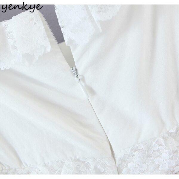 YENKYE-Romantic-Lace-Trim-White-Party-Dress-Women-Sexy-Square-Neck-Short-Sleeve-Drawstring-Draped-Bodycon-5.jpg