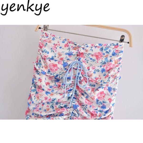 YENKYE-Sexy-Drawstring-Draped-Print-Floral-Skirt-Women-Back-Zipper-High-Waist-Mini-Jupe-Femme-Summer-3.jpg