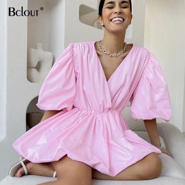 Bclout-Elegant-White-Pink-V-Neck-Bodycon-Dress-Women-2021-Summer-Puff-Sleeve-Short-Dress-Casual-2.jpg